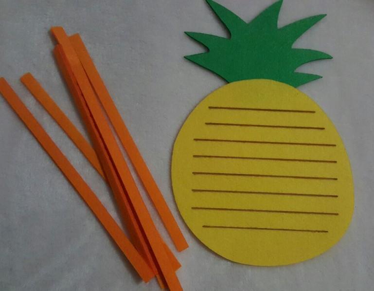 幼儿园区角区域游戏活动投放材料编织水果菠萝